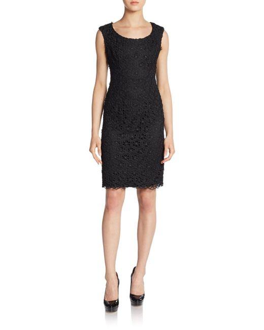 Saks Fifth Avenue Black | Black Floral Lace Shift Dress | Lyst