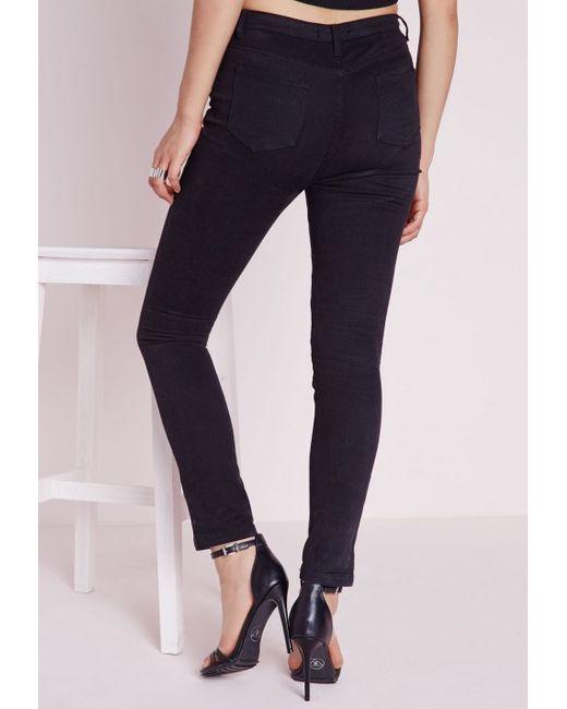 Missguided Edie High Waist Skinny Jeans In Matte Black in Black ...