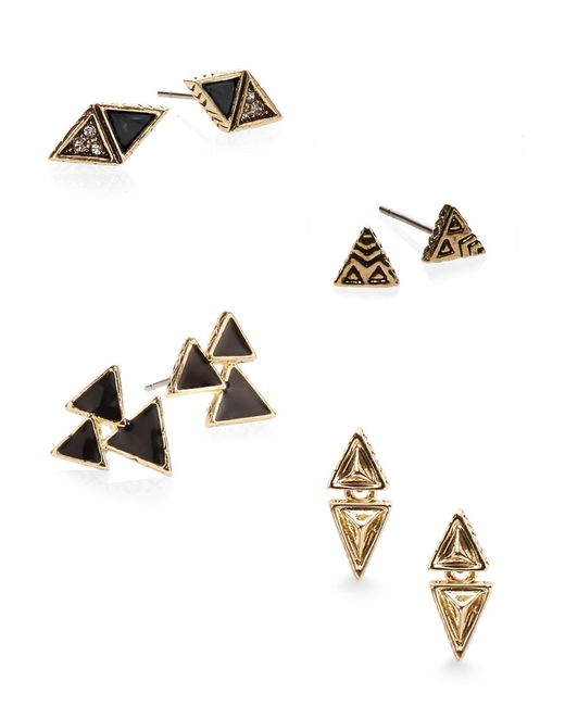 House of Harlow 1960 | Black Tessellation Geometric Stud Earring Set | Lyst