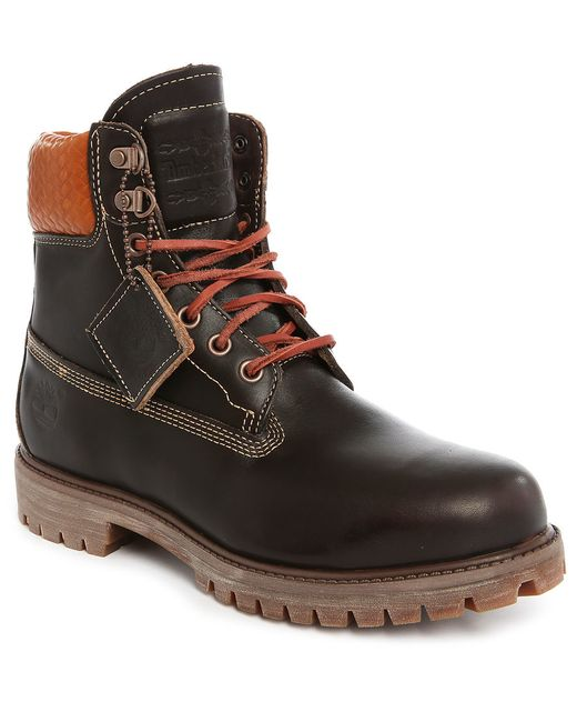 timberland 6 inch premium brown leather boots in brown for