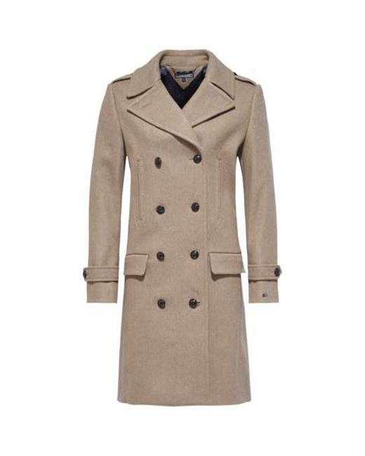 tommy hilfiger tate wool coat in beige save 50 lyst. Black Bedroom Furniture Sets. Home Design Ideas