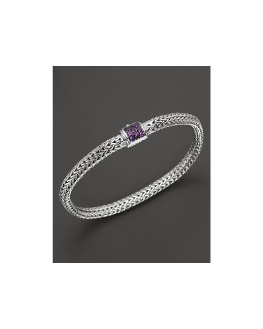 John Hardy | Purple Classic Chain Sterling Silver Lava Extra Small Bracelet With Amethyst Clasp | Lyst