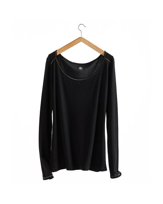 Petit Bateau   Black Women's Long-sleeved, Admiral-style Round Neck Tee In Light Cotton   Lyst