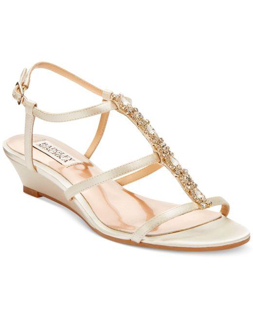 badgley mischka carley evening wedge sandals in beige