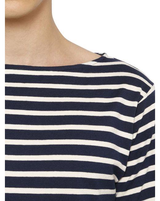 Saint laurent long sleeve striped cotton t shirt in blue for Blue and white striped long sleeve t shirt