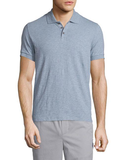 Vince Short Sleeve Knit Polo Shirt In Blue For Men Light