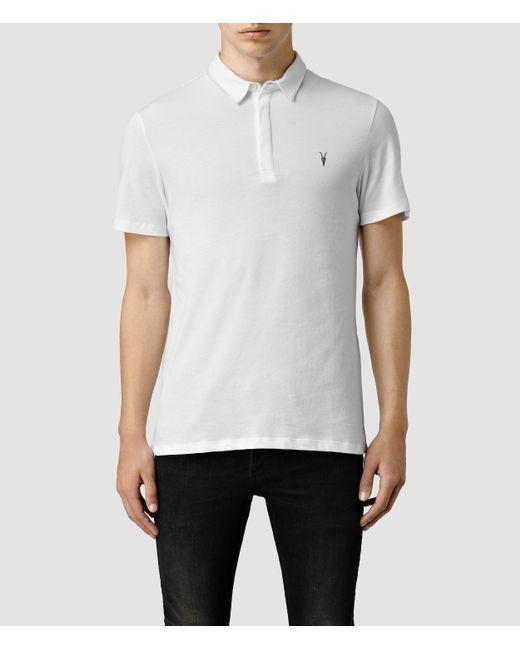 Allsaints Brace Polo Shirt Usa Usa In White For Men Optic