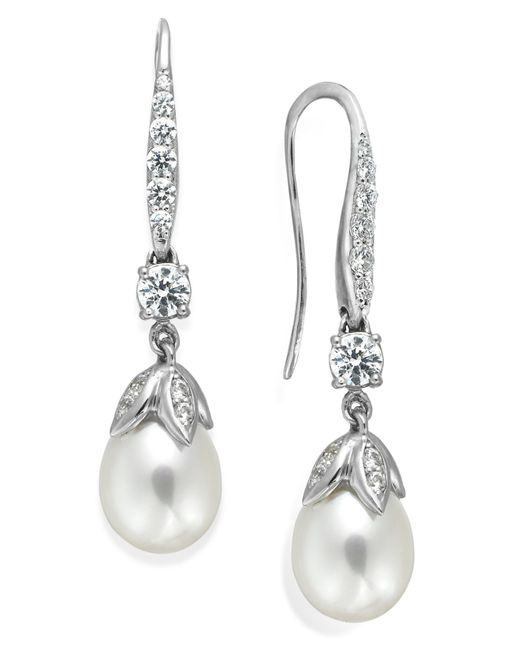 Arabella | Metallic Bridal Cultured Freshwater Pearl (8mm) And Swarovski Zirconia (1-5/8 Ct. T.w.) Leaf Drop Earrings In Sterling Silver | Lyst