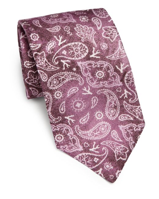 Isaia | Purple Faded Paisley Linen & Silk Tie for Men | Lyst