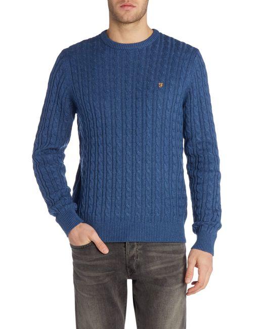 Knitting Pattern Crew Neck Jumper : Farah Lewes Crew Neck Cable Knit Jumper in Blue for Men (Blue Marl) Lyst