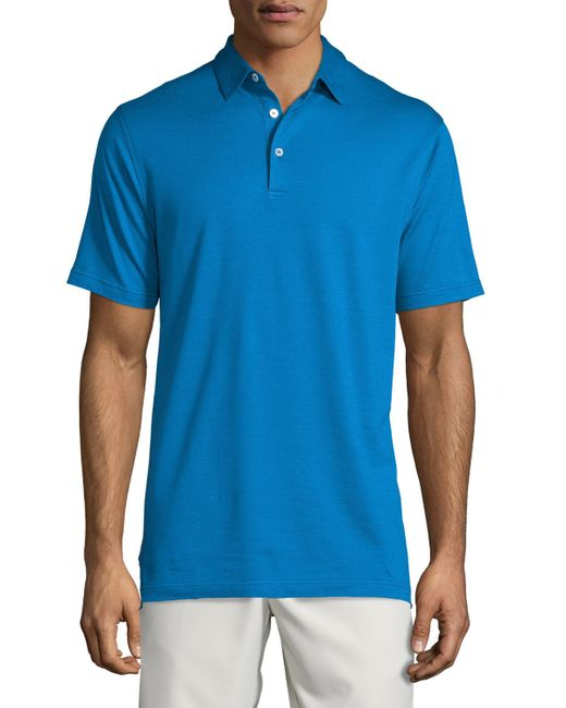 Peter millar short sleeve pique polo shirt in blue for men for Peter millar polo shirts