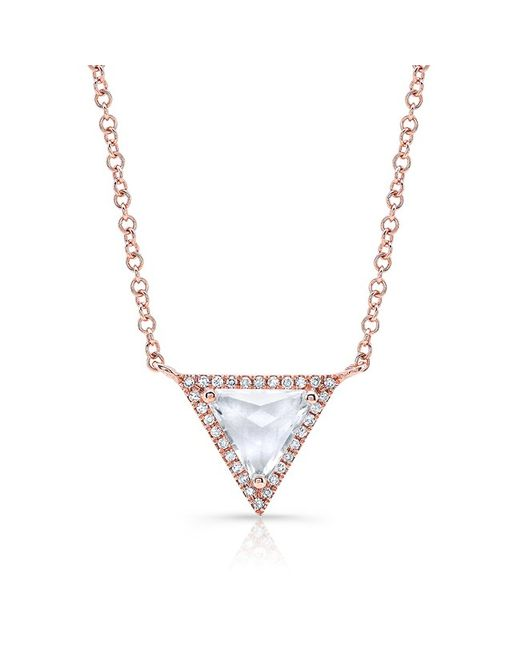 Anne Sisteron | Pink 14kt Rose Gold White Topaz Triangle Diamond Necklace | Lyst