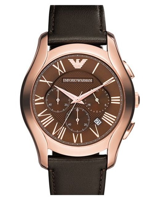 Emporio Armani | Brown Round Chronograph Leather Strap Watch for Men | Lyst