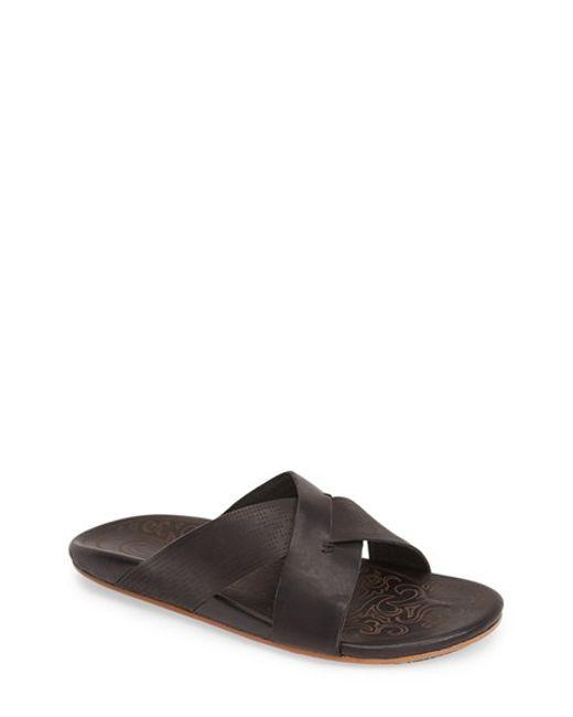 Olukai | Black 'punono' Slide Sandal for Men | Lyst