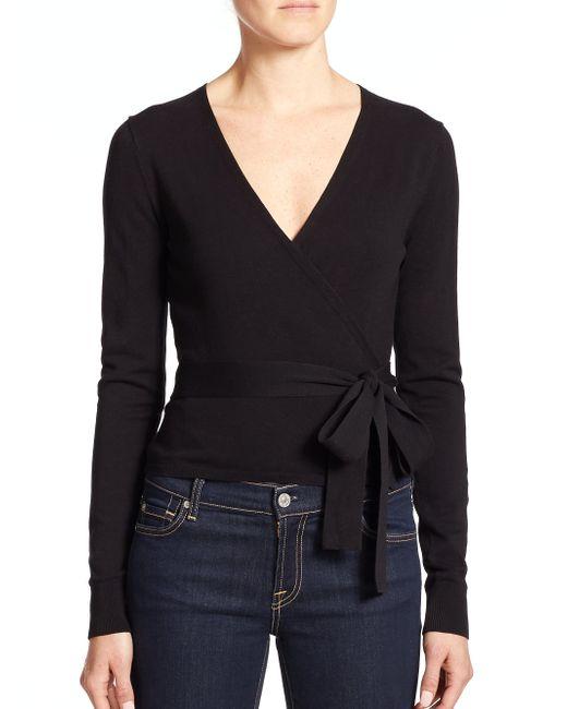 Diane von Furstenberg | Black Ballerina Wrap Sweater | Lyst
