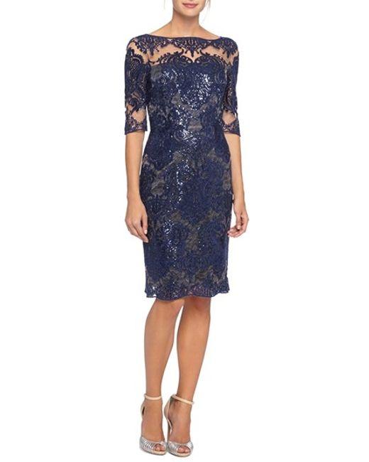 Tahari embroidered lace sheath dress with illusion