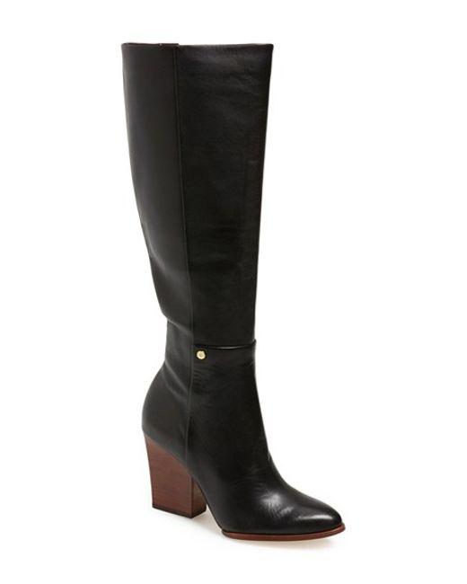 Calvin Klein   Black 'zurie' Knee High Pointy Toe Boot   Lyst