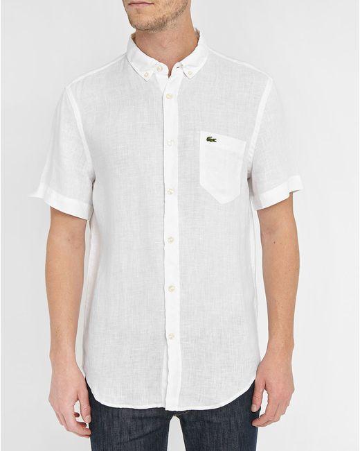 Lacoste white short sleeve linen shirt in white for men for Mens short sleeve linen dress shirts
