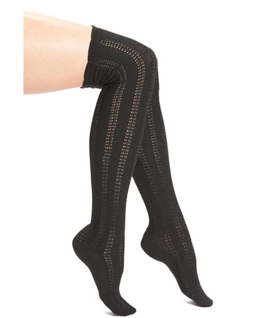 Free People | Black 'fray' Openwork Knit Over The Knee Socks | Lyst