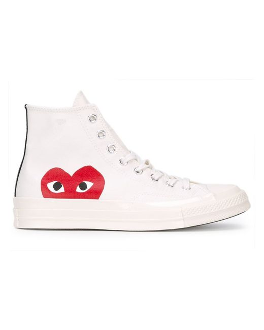 Comme des Garçons | White Play Chuck Taylor Canvas High-Top Sneakers | Lyst