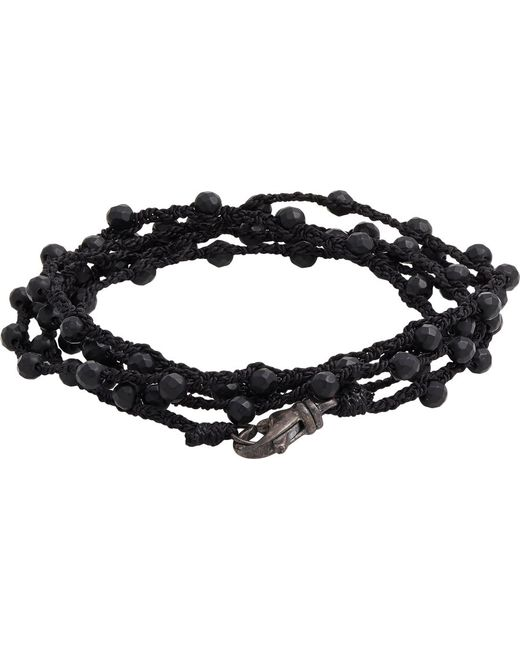 Feathered Soul | Black Agate Bead & Braided Silk Wrap Bracelet for Men | Lyst