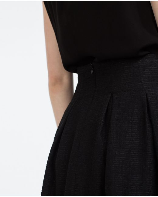 zara pleated skirt in black lyst