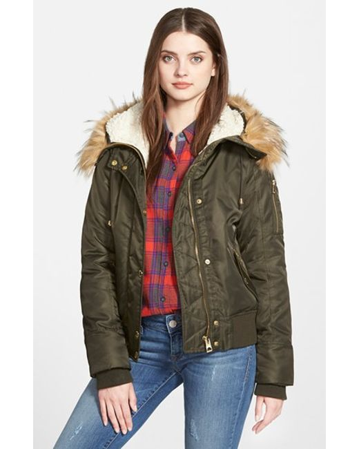 Guess Hooded Satin Bomber Jacket With Faux Fur Trim Amp Faux