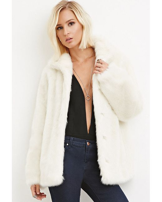 Forever 21 | Natural Faux Fur Coat | Lyst