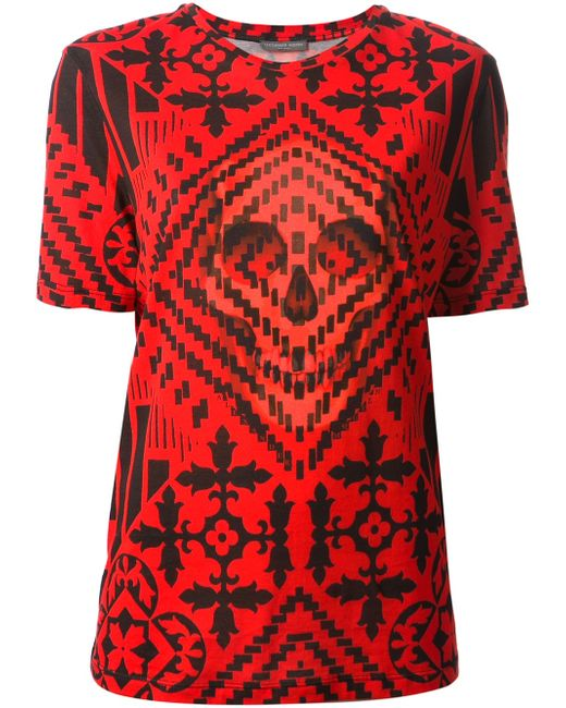 Alexander mcqueen Geometric Skull Print T-shirt in Red ...