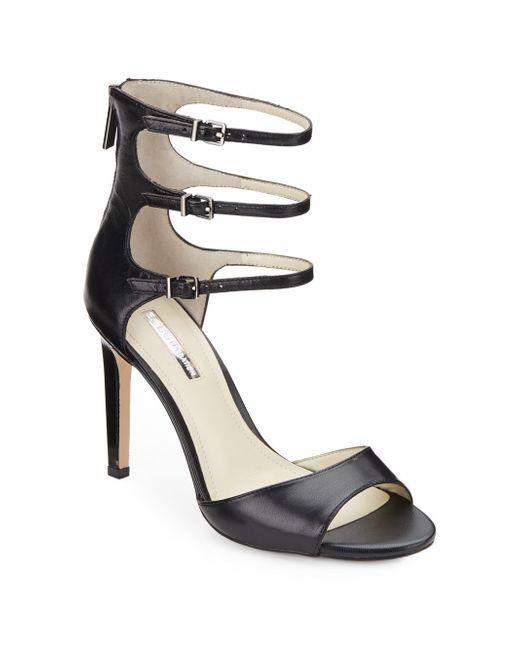BCBGeneration | Black Chevonne Ankle Strap Leather Pumps | Lyst
