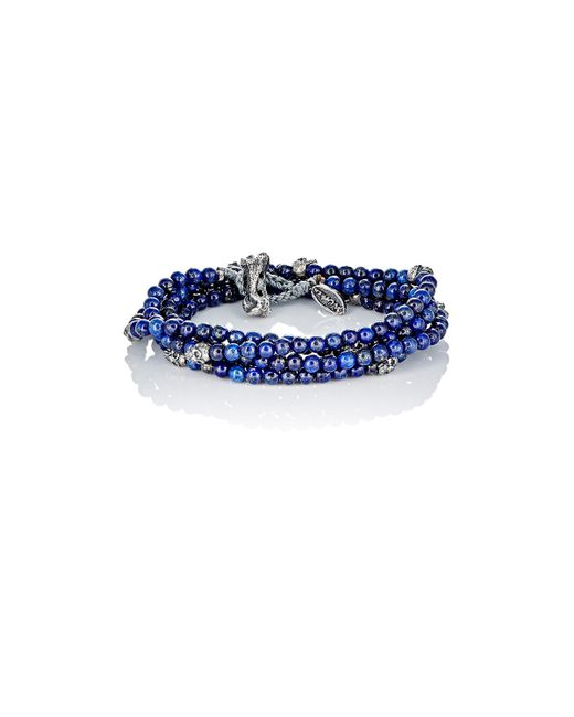 M Cohen | Blue Bead & Skull Charm Wrap Bracelet | Lyst