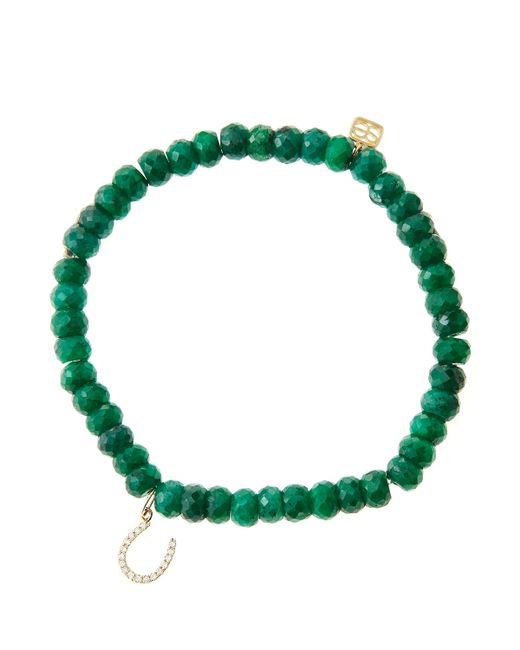 Sydney Evan | Blue 6Mm Faceted Emerald Beaded Bracelet With 14K Yellow Gold/Micropave Diamond Horseshoe Charm (Made To Order) | Lyst
