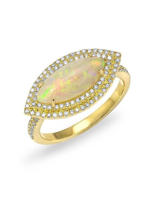 Anne Sisteron - Metallic 14kt Yellow Gold Marquis Opal Double Halo Diamond Ring - Lyst