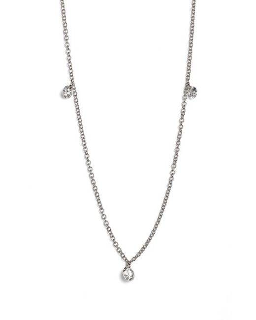 Bony Levy | White 'floating Diamond' 3-diamond Necklace (nordstrom Exclusive) | Lyst