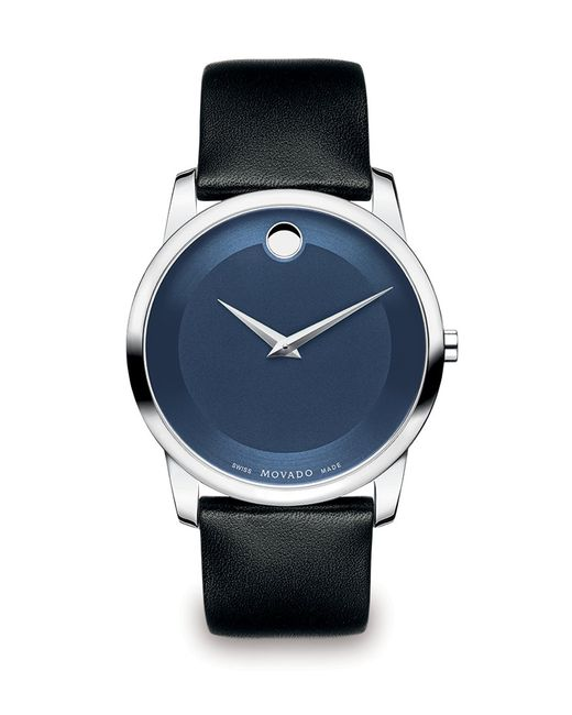 movado museum classic stainless steel watch in blue for