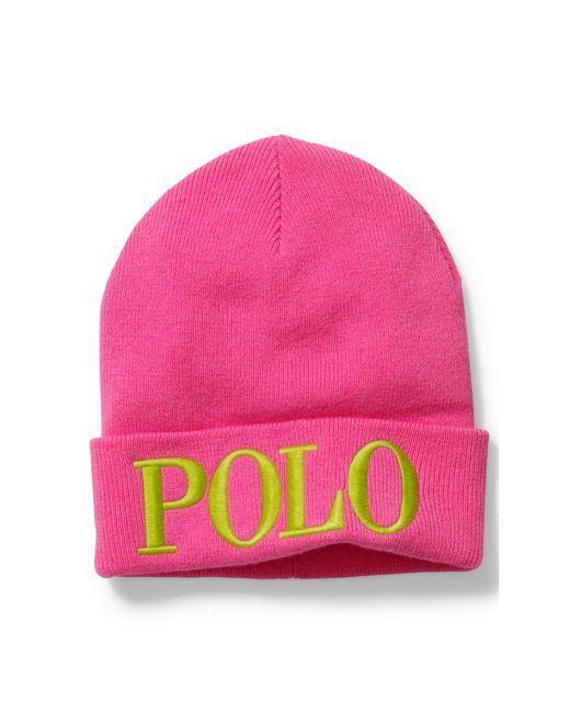 Polo Ralph Lauren | Pink Embroidered Wool-blend Beanie | Lyst