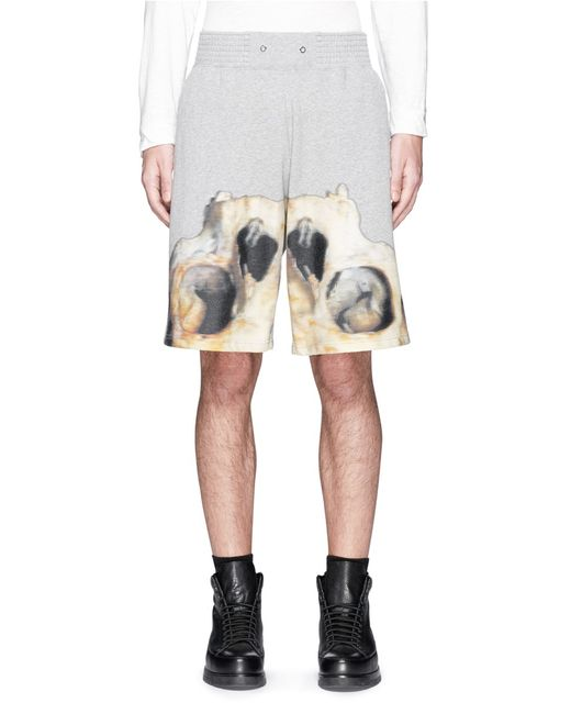 Givenchy Inverted Monkey Skull Print Sweat Shorts In Gray