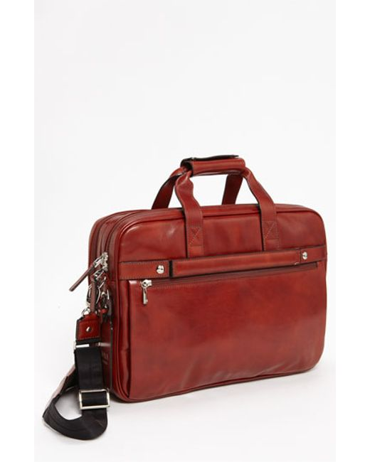 Bosca | Brown Double Compartment Leather Briefcase for Men | Lyst