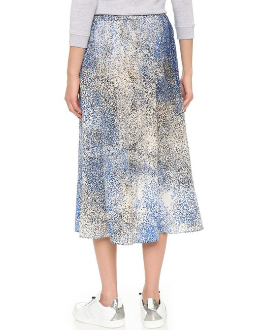 kenzo sand silk skirt in blue royal blue lyst