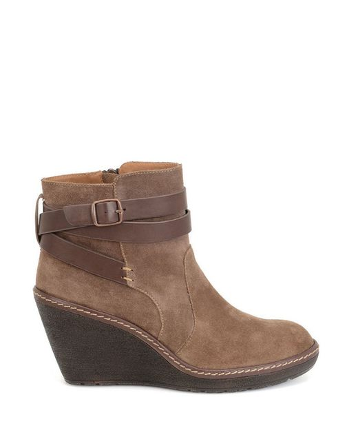 s 246 fft caralee suede wedge ankle boots in brown save 45