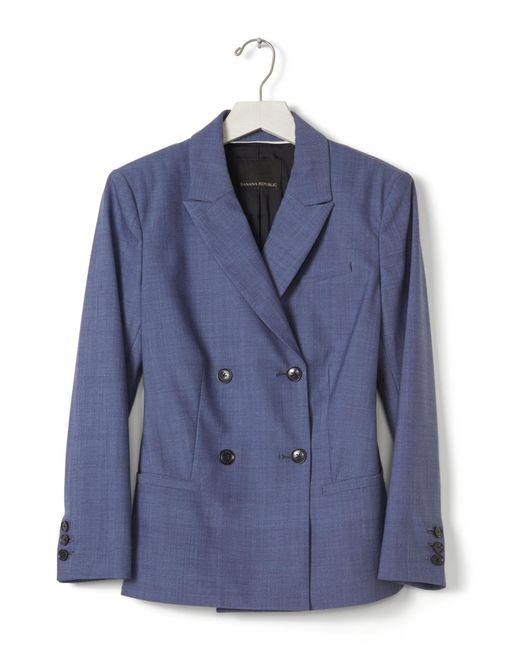 Banana Republic Chambray Lightweight Wool Blazer In Blue