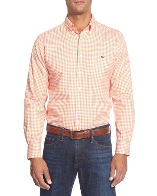 Vineyard Vines | Orange 'bayroad' Slim Fit Gingham Sport Shirt for Men | Lyst