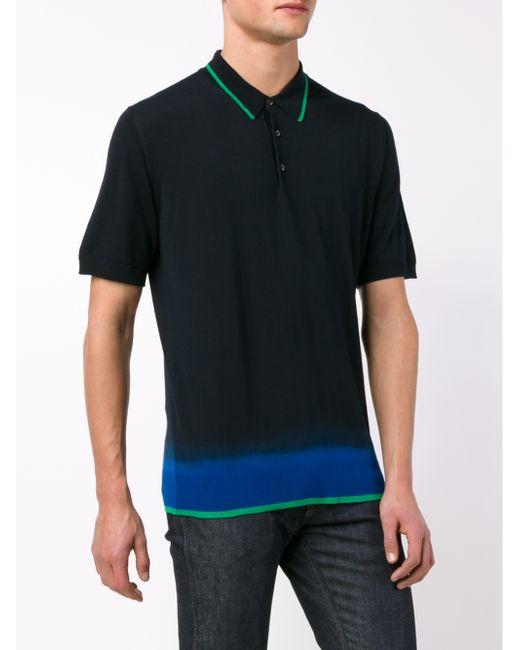 Lanvin Tie Die Merino Wool Polo Shirt In Blue For Men