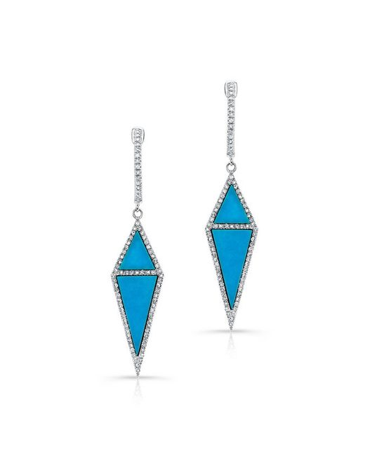 Anne Sisteron | Blue 14kt Yellow Gold Turquoise Diamond Shield Earrings | Lyst