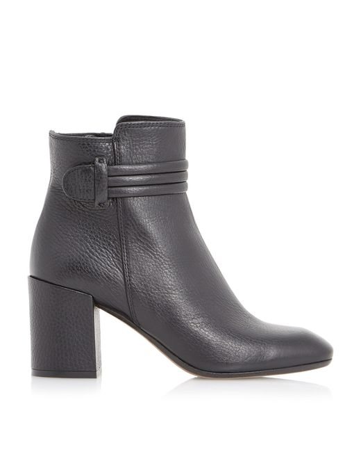 dune black olena square toe leather ankle boot in black