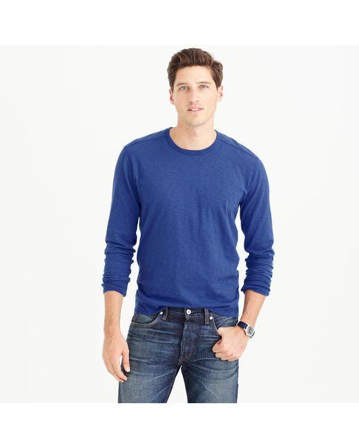 J.Crew | Blue Long-sleeve Textured Cotton T-shirt for Men | Lyst