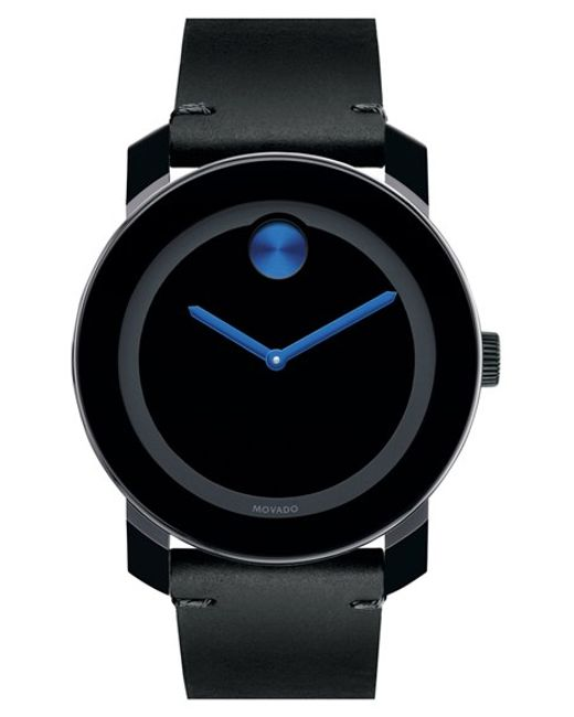 Movado   Black 'bold' Leather Strap Watch for Men   Lyst
