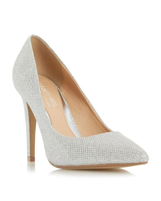 dune addyson pointed toe high heel court shoes in silver
