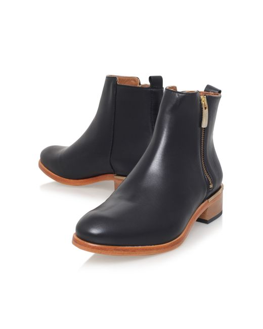 kurt geiger dansey flat zip up ankle boots in black lyst