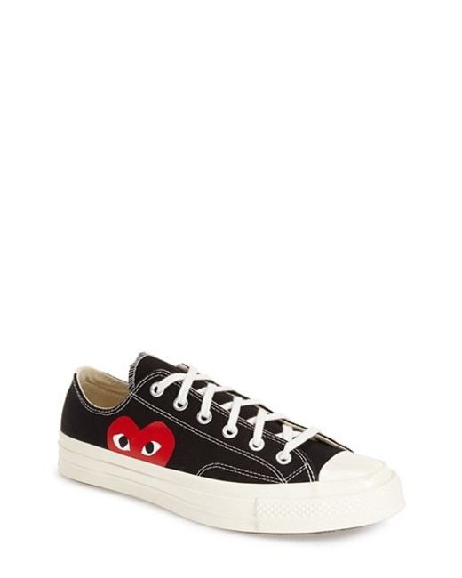 Comme des Garçons | Black Large Emblem Low Top Canvas Sneakers | Lyst